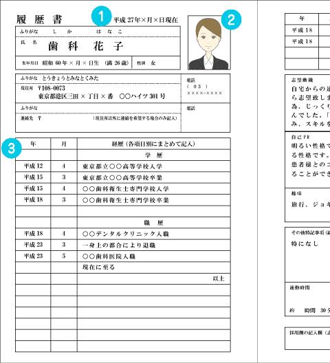 履歴書の項目①~③